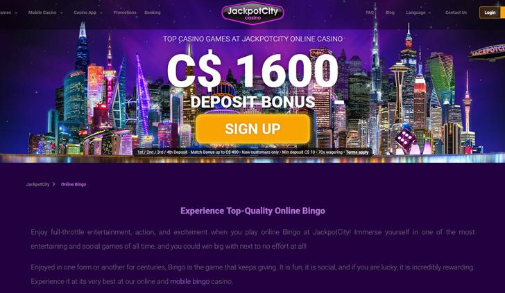 Jackpot City Bingo Website - Mobile
