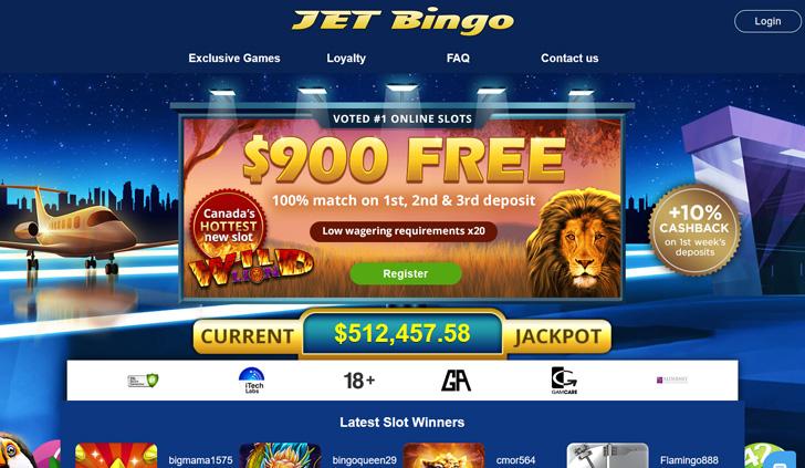 Jet Bingo Website - Mobile