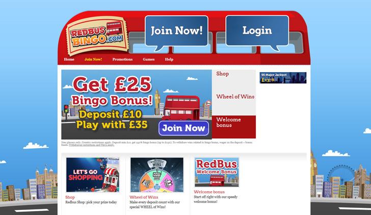 RedBus Bingo Website - Mobile
